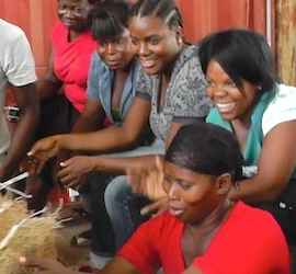 Haitian women with vetiver