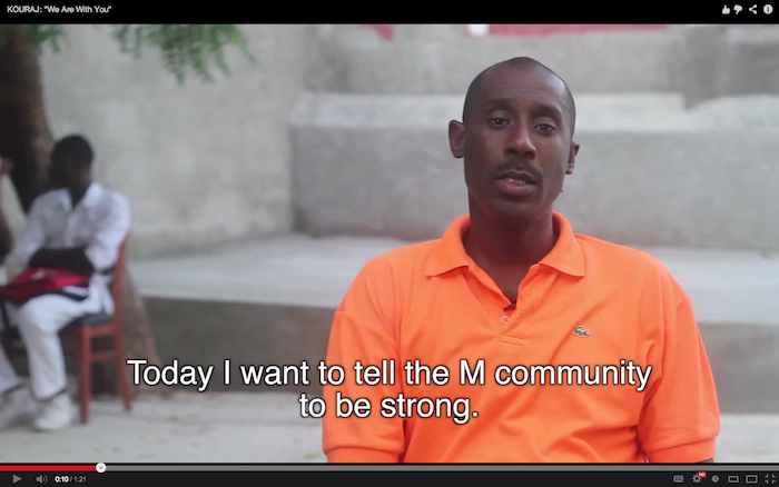KOURAJ video message for Haiti's M (LGBTQ) community from Ernest